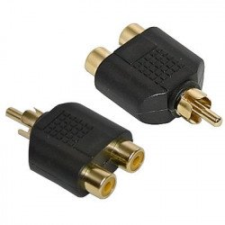 plated RCA Audio Y Splitter plug jack adapter 1 male 2 female connector for Audio Video AV Cable convert