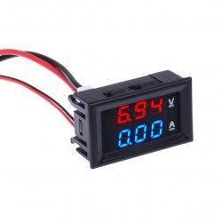 100V 10A Voltmeter Ammeter Blue + Red LED Amp