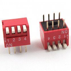 2.54mm 4Positions 8Pin Red DIP Switch