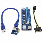 PCI-E Express 1x to16x Extender Riser Board Card Adapter SATA Cable