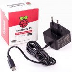 Raspberry Pi 4 Model B Official PSU, USB-C, 5.1V, 3A, EU Plug, Black