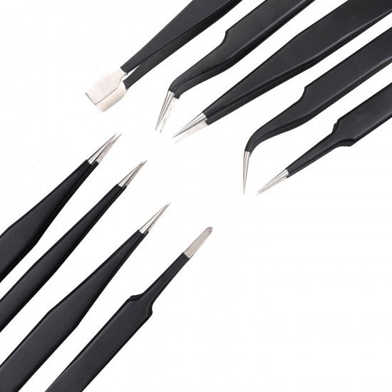 9pcs/lot Anti-static ESD Tweezers
